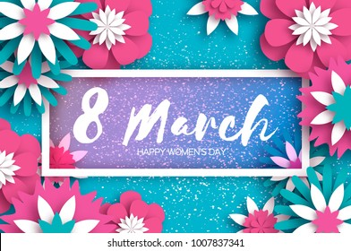 Pink Blue 8 March. Happy Women's Day. Mother's Day. Paper cut Floral Greeting card. Origami flower. Text. Rectangle frame. Spring blossom. Seasonal holiday on sky blue. Modern paper decoration.