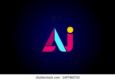 pink blue alphabet letter AJ A J combination for company logo. Suitable as logotype design for a business