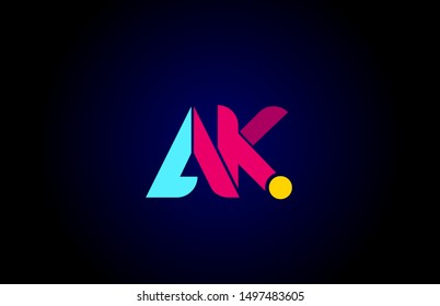 pink blue alphabet letter AK A K combination for company logo. Suitable as logotype design for a business