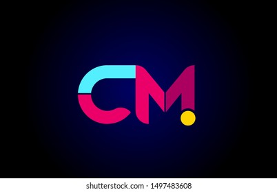 pink blue alphabet letter CM C M combination for company logo. Suitable as logotype design for a business