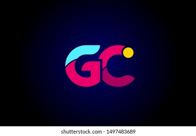 pink blue alphabet letter GC G C combination for company logo. Suitable as logotype design for a business
