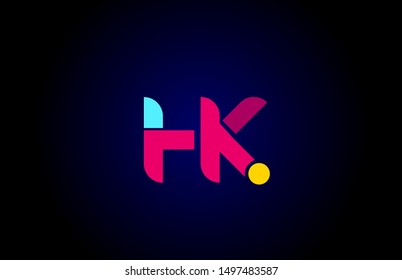 pink blue alphabet letter HK H K combination for company logo. Suitable as logotype design for a business