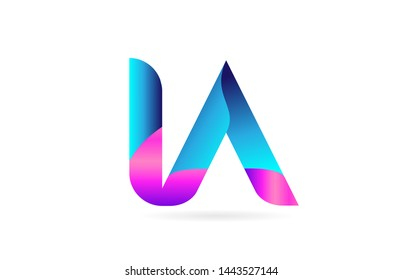 pink blue alphabet letter IA I A combination logo design suitable for a company or business