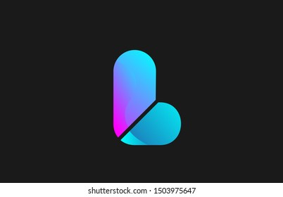 pink blue alphabet letter L for company logo design. Suitable as logotype icon for a brand or business
