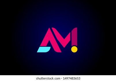 pink blue alphabet letter AM A M combination for company logo. Suitable as logotype design for a business
