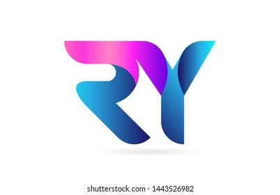 pink blue alphabet letter RY R Y combination logo design suitable for a company or business