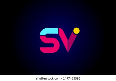 pink blue alphabet letter SV S V combination for company logo. Suitable as logotype design for a business