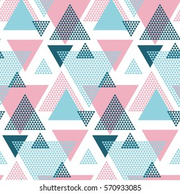 Pink and blue creative repeatable motif with triangles for wrapping paper or fabric. funky background with lines in 80s or 90s fashion style. Abstract summer geometric seamless pattern.