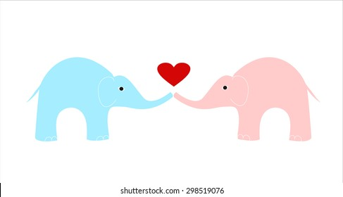 pink and blue elephants on white background, love elephants