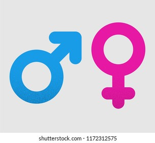 Pink and blue female and male signs isolated on white background. Vector sign.