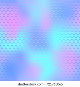 Pink and blue fish skin with scale pattern. Mermaid tail vector background. Mermaid  seamless pattern. Mermaid skin seamless background for nursery design. Seamless color mesh. Fish scale ornament