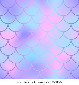 Pink and blue fish skin with scale pattern. Mermaid vector background. Mermaid  seamless pattern. Magic mermaid skin seamless background for nursery design. Seamless color mesh. Fish scale ornament