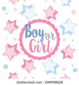 Pink and Blue Gender Reveal Invitation. Boy or girl? Design with stars, template for party.