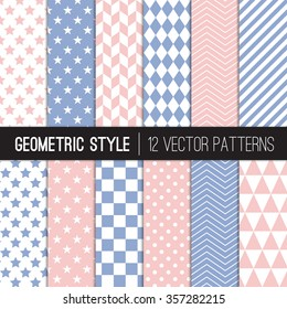 Pink Blue Geometric Patterns. Rose Quartz and Serenity - 2016 Colors of the Year. Chevron, Dots, Checks, Triangles, Stars & Stripes. Vector EPS File's Pattern Swatches made with Global Colors.