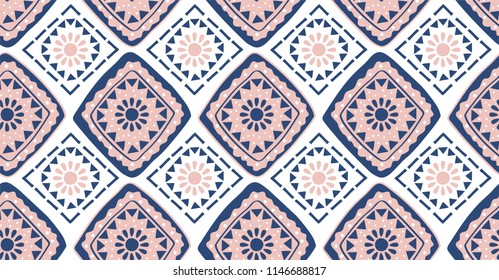 Pink blue geometric seamless pattern in African style with square,tribal and circle