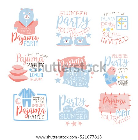 pink blue girly pajama party invitation stock vector royalty free