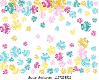 Pink blue gold seashells vector, pearl bivalved mollusks illustration. Oceanic scallop, bivalve pearl shell, marine mollusk isolated wild life-nature background. Trendy sea shell pattern.