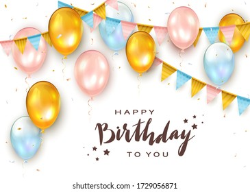 Pink, blue and golden balloons on white background with lettering Happy Birthday, colorful holiday pennants and confetti. Illustration can be used for holiday design, poster, card, website, banners
