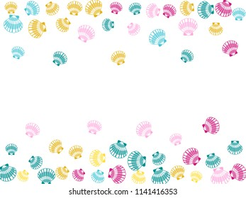 Pink blue golden yellow seashells vector, pearl bivalved mollusks illustration. Oceanic scallop, bivalve pearl shell, marine mollusk isolated wild life-nature background. Trendy sea shell frame.
