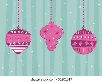 pink and blue hanging decorations