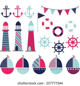 Pink Blue Nautical
