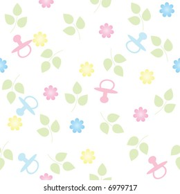pink and blue pacifiers and flowers repeating, seamless baby background