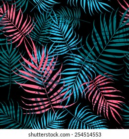 Pink and blue palm tree foliage on black background
