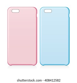 Pink and blue smartphone cases. Vector illustration