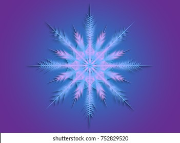 Pink and blue snowflake on a blue background