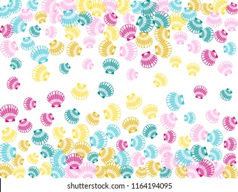 Pink blue teal yellow seashells vector, pearl bivalved mollusks illustration. Oceanic scallop, bivalve pearl shell, marine mollusk isolated wild life-nature background. Trendy sea shell pattern.