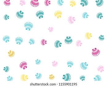 Pink blue turquoise yellow seashells vector, pearl bivalved mollusks illustration. Oceanic scallop, bivalve pearl shell, marine mollusk isolated wild life-nature background. Trendy sea shell pattern.