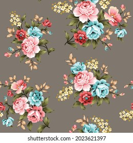 pink and blue vector flowers with green and cream leaves bunches pattern on grey background