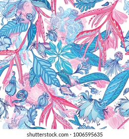 Pink and Blue Vector Tropical Pattern Seamless elegant sketch detailed backgrounds with exotic plants and flowers