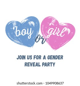 Pink and Blue Watercolor brush hearts Gender Reveal Invitation. Boy or girl? Template for party.
