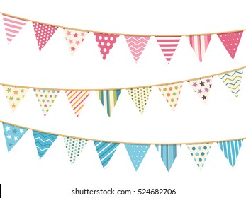 Pink, blue and white bunting, design elements for decoration of greetings cards, invitations etc, vector eps10 illustration