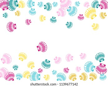Pink blue yellow cool seashells vector, pearl bivalved mollusks illustration. Oceanic scallop, bivalve pearl shell, marine mollusk isolated wild life-nature background. Trendy sea shell on white.