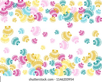 Pink blue yellow seashells vector, pearl bivalved mollusks illustration. Oceanic scallop, bivalve pearl shell, marine mollusk isolated wild life-nature background. Beautiful sea shell pattern.