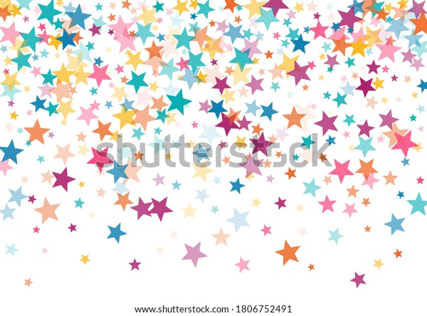 Pink blue yellow stars confetti falling holidays vector background. Magic shining cyan blue pink gold flying stars isolated on white border. Sparkles festive birthday party background graphic design.