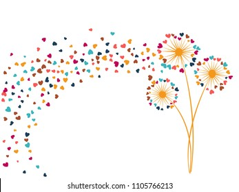 Pink blue yellow vector dandelion herbs, meadow flowers illustration. Floral cute background design with dandelion blowing plant. Flowers with heart shaped feather flying. Love symbols design.