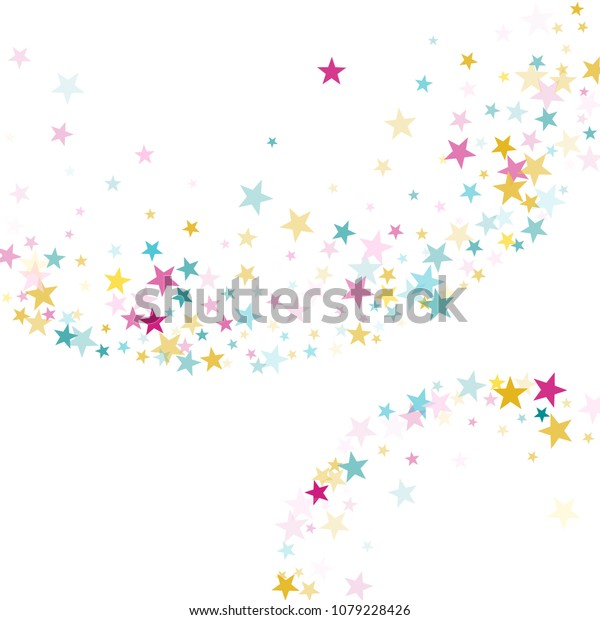 Pink blue yellow vector star background sparkle pattern. Colorful confetti of flying stars, magic geometric sparkles on white. New Year party design.