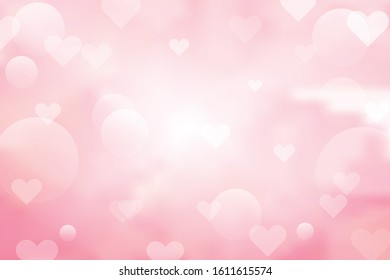 pink blur background with heart bokeh for valentine's day.