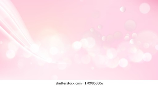 Pink blurred bokeh for holiday glowing background. Happy valentines day backdrop. Vector illustration.