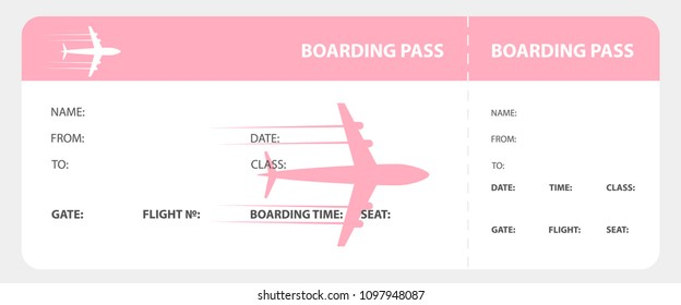 Pink boarding pass isolated on white background. Vector illustration.
