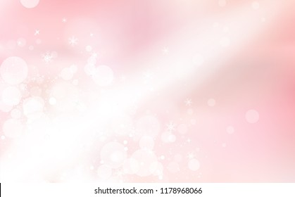 Pink Bokeh, light beam in winter celebration, snowflakes confetti falling, glowing blur sparkle holiday season abstract background vector illustration