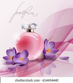 Pink bottle women's perfume with spring flowers crocuses . Vector template
