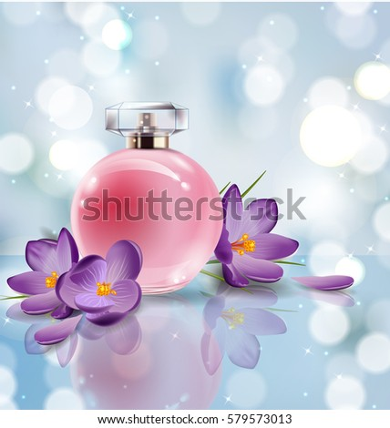 Pink Bottle Womens Perfume Spring Flowers Stock Vector Royalty Free