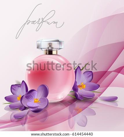 Pink bottle womens perfume spring flowers stock vector royalty free pink bottle womens perfume with spring flowers crocuses vector template mightylinksfo