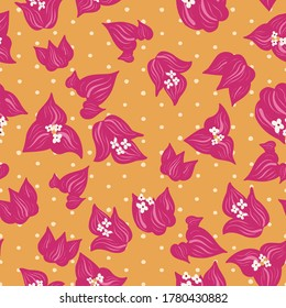 Pink bougainvillea floral tendril seamless vector pattern background on orange polka dots for fabric, wallpaper, stationery, scrapbooking projects or backgrounds. Surface pattern design.