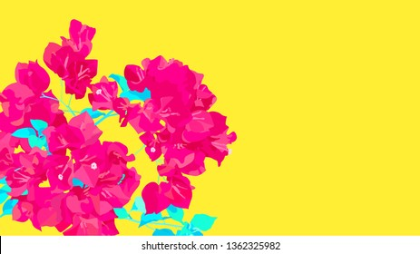 Pink Bougainvillea flowers on neon yellow background, minimal easy sunday feeling template