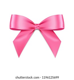 Pink bow shiny satin with shadow realistic vector for decorate your greeting card isolated on white background.